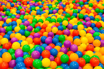 A lot of mini colorful ball in the pool at indoor playground of background