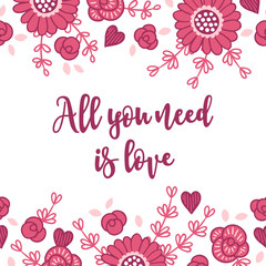 Valentine greeting card with seamless floral border - gerbera, roses, leaves