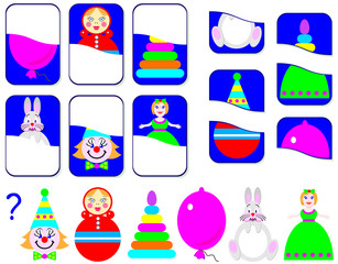 Logic exercise for children. Need to find the second parts of toys and draw them in relevant places. Vector image.