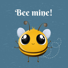 Cartoon cute bee character with arms open for hug. Bee mine message for Valentine's Day, birthday or love design. Vector illustration