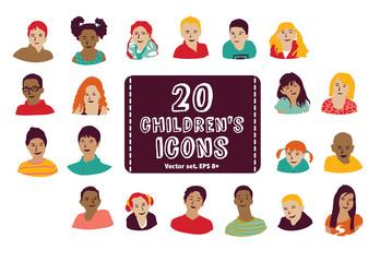Children icons group set.