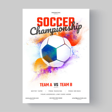Soccer ball, soccer championship flyer or poster design on colorful background.
