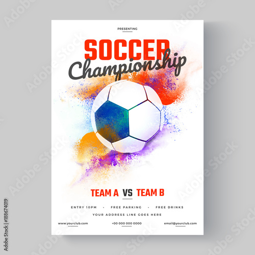 Soccer Ball Soccer Championship Flyer Or Poster Design On Colorful Background Wall Mural Abdul Qaiyoom