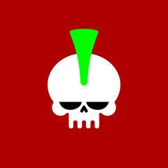 Punk skull with mohawk. head of skeleton. Vector illustration