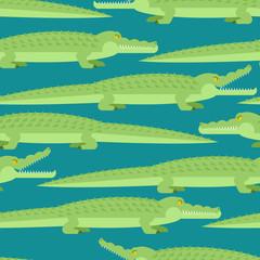 Crocodile Seamless Pattern. Alligator Kids cloth ornament. Predator animal Background. Vector illustration