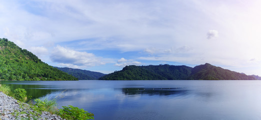 Panoramic image of beautiful Khun Dan Prakarn Chon Dam , the largest and longest roller compacted concrete (RCC) dam in the world , Nakhon Nayok , Thailand