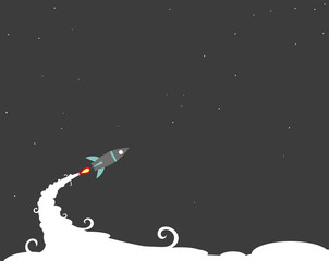 Cartoon rocket on space background, vector illustration. Simple flying spaceship drawing.