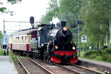 Oldfashioned train on rails in South Limburg