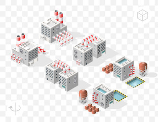 Set of Isometric High Quality City Element with 45 Degrees Shadows on Transparent Background . Factory