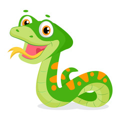Cartoon Cute Green Smiles Snake Vector Animal Illustration. Cartoon Vector Reptile Isolated On White Background. Non Venomous Snake.