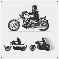 Set of motorcycles. Emblems of bikers club. Vintage style. Monochrome design