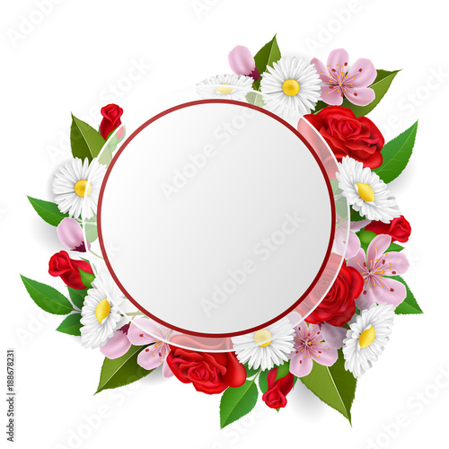 Round paper frame with flower bouquet from rose, daisy, cherry ...