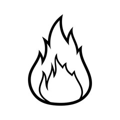 Cartoon Fire Black Line White Background