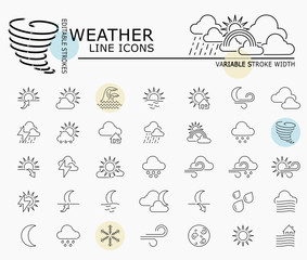 Weather line icons with minimal nodes and editable stroke width and style