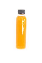 Orange juice in bottle isolated on white background