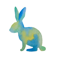 Beautiful silhouette of an easter rabbit of blue and green painted watercolor on a white background