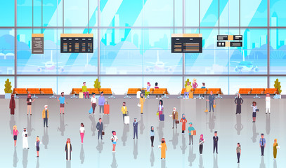 Modern Airport Interior People Passengers With Baggage Walking Through At Waiting Hall And Departure Lounge To Terminal Flat Vector Illustration