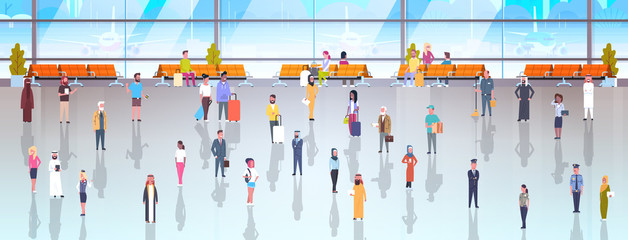 People In Airport Travelers With Baggage Walking Through At Waiting Hall And Departure Lounge To Terminal Flat Vector Illustration