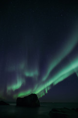 Norwegen | Polarlichter, Hauklandbeach auf den Lofoten