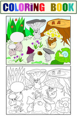 Family of mushrooms in the forest coloring book for children cartoon illustration. White, black and color