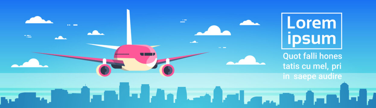 Airplane Flying Over City Skyscrapers Plane In Sky Cityscape Skyline Background With Copy Space Horizontal Banner Flat Vector Illustration