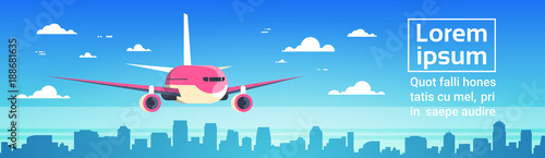 airplane flying over city skyscrapers plane in sky cityscape skyline background with copy space. Black Bedroom Furniture Sets. Home Design Ideas