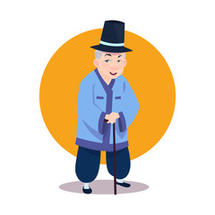 Old Asian Man Wearing Traditional Korean Costume Senior Grandfather With Stick In National Korea Clothes Vector Illustration