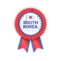 South Korea Games Medal Badge Isolated On White Background Decorated With Korean Flag Vector Illustration