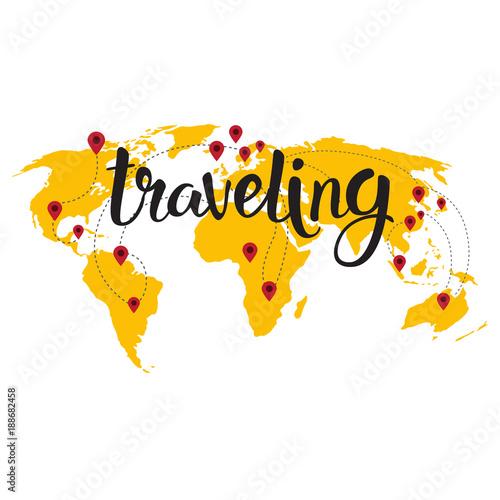 Traveling lettering over world map background hand drawn tourism traveling lettering over world map background hand drawn tourism adventure concept vector illustration gumiabroncs Images