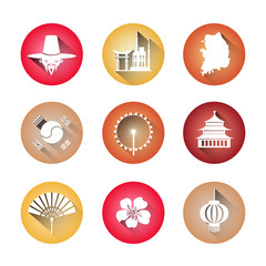 South Korea Symbols Set Of Icons Traditional Clothing Buildings Korean Map Flag Silhouettes Vector Illustration