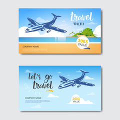 Travel Agency Template Vouchers Set, Collection Of Posters From Tourist Company Isolated Vector Illustration