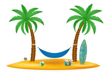 hammock suspended between palm trees stock vector illustration