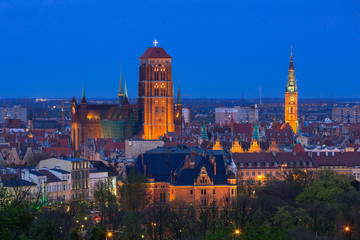 Architecture of Gdansk old town at night, Poland