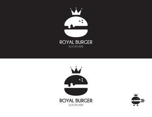 Burger logo design. Royal hamburger of flat style. Fast food icon.