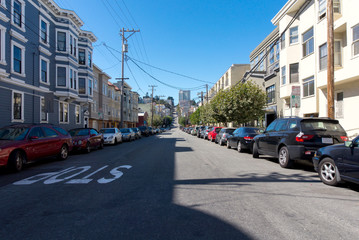 Parked cars on the San Francisco streets. Streets of San Francisco with a cars parked on the side of the road