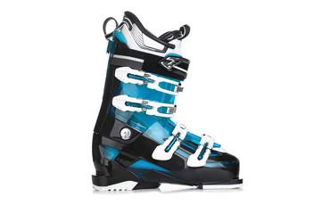 Profesional Blue ski boots isolated on white background