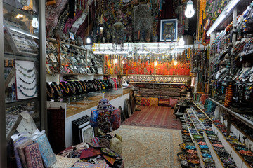 Souvenir shop interior in Old City of Jerusalem.
