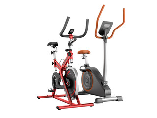 Two modern sport exercise bike yellow purple 3d render on white background no shadow