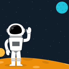 Cartoon astronaut on a planet waving hand
