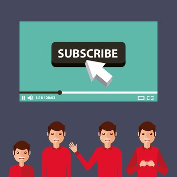 suscribe video man influencer viral content vector illustration