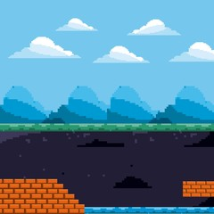 pixel game scene day and underground level brick and water vector illustration