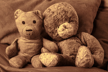 Grandparents vintage teddy bear lovers. Old-aged toy married couple in love. Wedding anniversary or valentines day image.