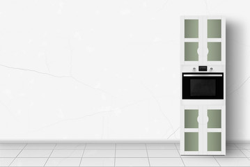 Home appliance - Kitchen case with an oven in front of white wall