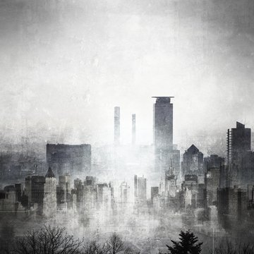 Grunge black and white city skyline with copy space.