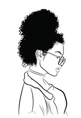Hand-drawn black woman with curly luxurious hair.Girl with perfectly shaped eyebrows and full lashes. Idea for business visit card, typography vector.Perfect salon look.