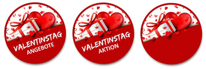 Valentinstag Button Set - Geschenk Schachtel mit Herz und Herz Konfetti