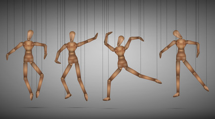 many marionette in different positions