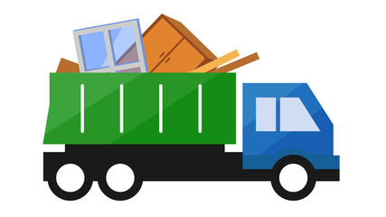 Vector illustration of Garbage Truck. Isolated lorry with big trash on white background.