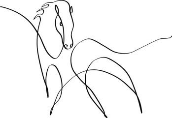 Dessin minimaliste one line noir d'un cheval
