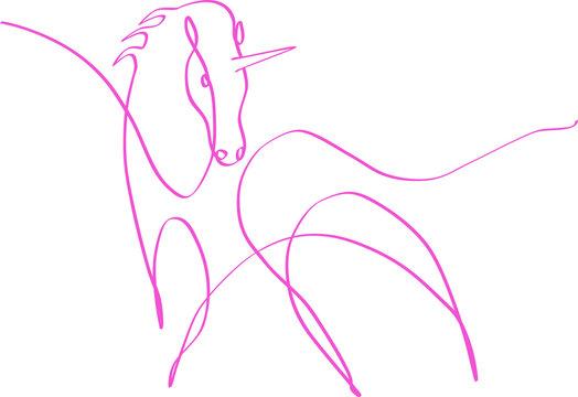 Dessin one line d'une licorne